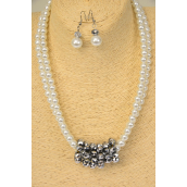 "Necklace Sets 2 Strands White Glass Pearls Slver Crystals/Sets **White** Size-17"" Extension Chain,Hang tag & Opp Bag & UPC Code"
