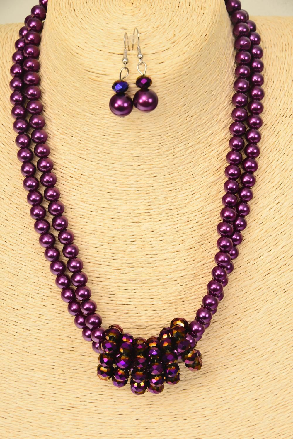 "Necklace Sets 2 Line Purple Glass Pearl Purple Glass Crystals/Sets **Purple** Size-17"" Extension Chain,Hang tag & Opp Bag & UPC Code"