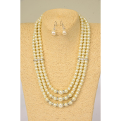 "Necklaces 3 Line Cream Glass Pearls Rhinestone Bessels/Sets **Cream Pearl** 18"" Extension Chain,Hang Tag & Opp Bag & UPC Code"