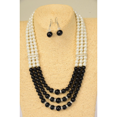 "Necklaces 3 Line White Glass Pearls & Black Pearl Mix Rhinestone Bessels/Sets **Black & White Mixl** 18"" Extension Chain,Hang Tag & Opp Bag & UPC Code"