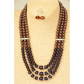 "Necklaces 3 Line Glass Pearls & Rhinestone Bessels Brown Tone Mix/Sets **Brown tone** 18"" Extension Chain,Hang Tag & Opp Bag & UPC Code"