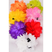 "Jaw Clip Flower Jumbo Glitter Trims/DZ Flower Size-5.5"" Wide,Jaw Clip-3.5"" Wide,2 Red,2 Yellow,2 Purple,2 Pink,2 White,1 Orange,1 Lime,7 Color Mix,Hang Tag & UPC Code,W Clear Box"