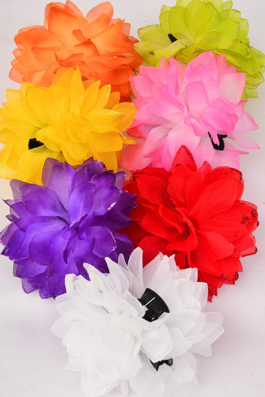 Jaw Clip Flower Jumbo Glitter Trim Dz Flower Size 5 5