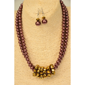 "Necklace Sets 2 Line Brown Glass Pearl Brown Color Glass Crystals/Sets **Brown** Size-17"" Extension Chain,Hang tag & Opp Bag & UPC Code"