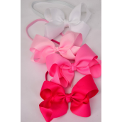 "Elastic Headband Jumbo Bow Pink Mix Grosgrain Bow tie/DZ **Pink Mix** Elastic,Bow tie Size-6""x 5"",3 Baby Pink,3 Hot Pink,3 Fuchsia,3 White Mix,Display Card & UPC Code,W Clear Box"