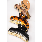 Jaw Clip Acrylic 10 cm Wide Fall Animal Print/DZ Size-10 cm Wide,4 of each Color Mix,Hang Tag & OPP bag & UPC Code