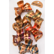 "Jaw Clip Acrylic Fall Strips/DZ Size-3.5""x 2.5"" Wide,2 of each Color Asst,Individual Display Card & Opp bag & UPC Code"
