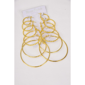 "Earrings 6 pair Metal Hoop Gold Mix Size & Shape/DZ Size-0.75"",1"",1.25"",1.5"",1.75"",2"" Mix,Earring Card & Opp Bag & UPC Code,6 pair per Card,12 Card/Dozen"