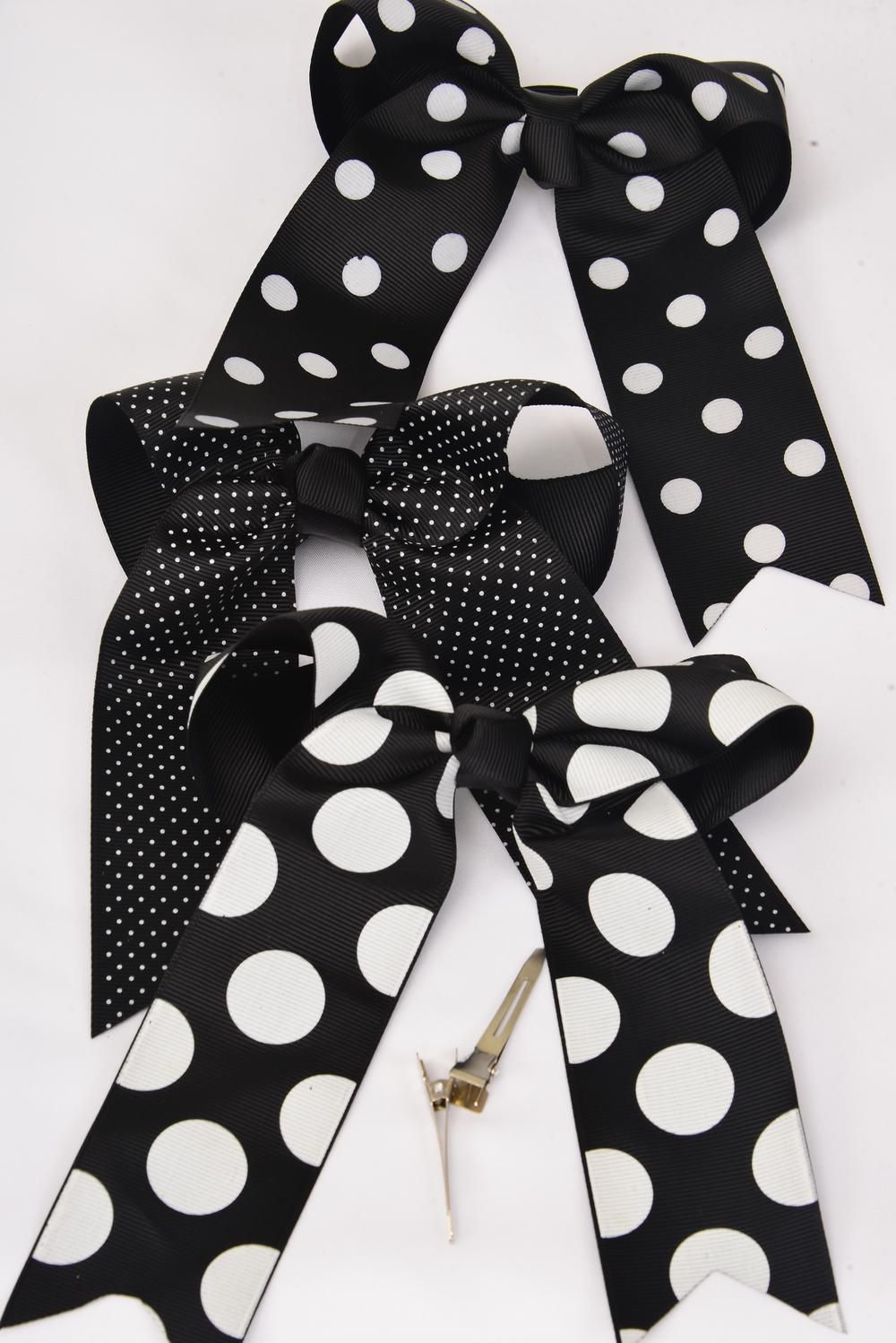 "Hair Bow Long Tail Polkadots Black Mix Grograin Bowtie/DZ **Black** Alligator Clip,Size-6.5"" x 6"" Wide,Clip Strip & UPC Code"