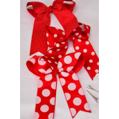 "Hair Bow Long Tail Polkadots Red Mix Grograin Bowtie/DZ **Red** Alligator Clip,Size-6""x 6.5"" Wide,Clip Strip & UPC Code"