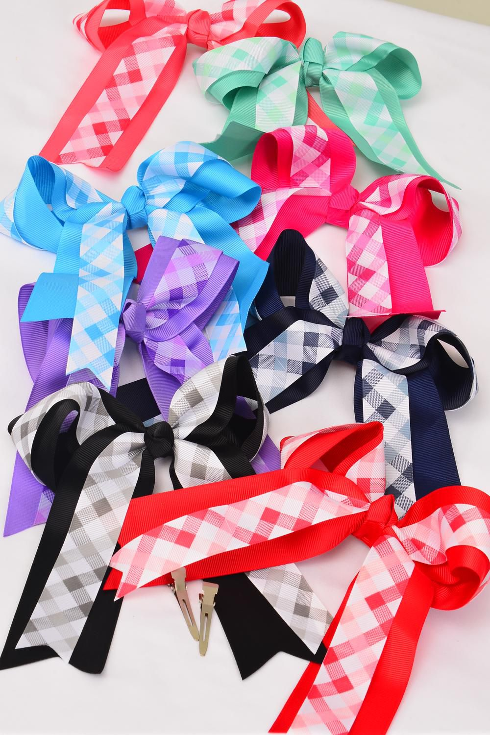 "Hair Bow Long Tail Double Layer Checkered Grosgrain Bowtie/DZ **Multi**  Size-6""x6.5"",Alligator Clip,2 Hot Pink,2 Blue,2 Black,2 Navy,1 Lavender,1 Mint,1 Red,1 Coral,8 Color Asst,Clip Strip & UPC Code"