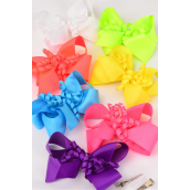 "Hair Bow Large Twirl Caribbean Neon Alligator Clip Grosgrain Bow-tie/DZ **Caribbean Neon** Alligator Clip,Size-6""x 5"" Wide,2 White,2 Pink,2 Turquoise,2 Purple,2 Orange,1 Yellow,1 Lime,7 Color Mix,Clip Strip & UPC Code."