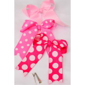 "Hair Bow Jumbo Long Tail Jumbo Polka-dots Spring Mix Grosgrain Bow-tie/DZ **Spring Mix** Alligator Clip,Size-6.5""x 6"" Wide,4 of each Color Asst,Clip Strip & UPC Code"