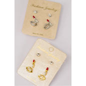 Earrings 3 Pair Metal Rhinestone Enamel Lipstick & Lip & Studs/DZ **Post** 6 Gold & 6 Silver Mix,Earring Card & OPP Bag & UPC Code