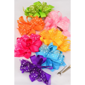 "Hair Bow Loop Bow Grosgrain Fabric & Chiffon Flower Mix Citrus/DZ **Alligator Clip** Bow-6""x 5"" Wide,2 Fuchsia,2 Blue,2 Purple,2 Yellow,2 Baby Pink,1 Lime,1 Orange,7 Color Asst,Clip Strip & UPC Code"
