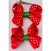 "Hair Bow Large Xmas Chiffion Polka-dots & Grosgrain Bow-tie mix/DZ **Alligator Clip** Size-4""x 3"" Wide,Display Card & UPC Code,W Clear Box"