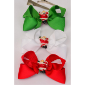 "Hair Bow XMAS Grosgrain Bow-tie Santa Charm/DZ **Alligator Clip** Size-3.5""x 2.5"" Wide,6 Red,3 Green,3 White Mix,Display Card & UPC Code,W Clear Box"