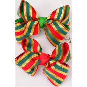 "Hair Bow Large Xmas Grosgrain Bow-tie Metallic Gold Stripe mix/DZ **Alligator Clip** Size-4""x 3"" Wide,6 Red,6 Green Mix,Display Card & UPC Code,W Clear Box"