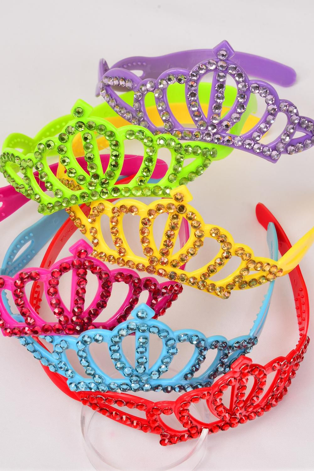 "Headband Tiara Acrylic Large Color Stones/DZ Tiara Size-5.5""x 2"" Wide,2 of each Color Asst,Hang Tag & Individual OPP Bag & UPC Code"