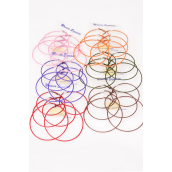 "Earrings 3 pair Metal Large Color Hoops Size Mix/DZ Size-2"" 2.25"" 2.5"" ,3 Size Mix,2 Black,2 Brown,2 Purple,2 Hunter Green,2 Red,1 Pink,1 Orange,7Color Asst,Earring Card & OPP bag & UPC Code -"