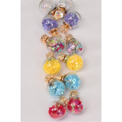 Earrings Gold 16 mm Glass Ball Color Hearts Cubic Zirconia/DZ **Reversible** Post,Size-16 mm Ball,2 of each Color Asst,Earring Card & OPP bag & UPC Code