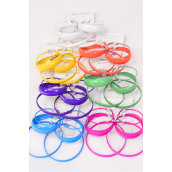 "Earrings 3 pair Metal Mix Size Color Hoops/DZ **Multi** Size Loop-1.75"" 2"" 2.5"" 3 Size Mix,2 Yellow,2 Orange,2 White,2 Blue,2 Fuchsia,1 Green,1 Purple Mix,Earring Card & Opp Bag & UPC Code"