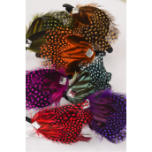 """Headband Horseshoe Real Feathers/DZ **Multi** Feather Size-4"""" x 3.5"""" Wide,2 Fuchsia,2 Blue,2 Red,2 Orange,2 Brown,1 Purple,1 Olive Color Asst,Hang tag & UPC Code,W Clear Box,"""
