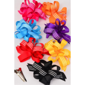 "Hair Bow Loop Bow Wide Multi Grosgrain Fabric Stripes/DZ Alligator Clip Citrus/DZ Alligator Clip,Bow Size-4.5""x 3.5"",2 Red,2 Yellow,2 Fuchsia,2 Purple,2 Blue,1 Black,1 Orange,7 Color Asst,Display Card & UPC Code,W Clear Box"