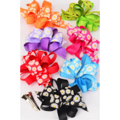 "Hair Bow Loop Bow Wide Grosgrain Fabric Daisy Flowers W Alligator Clip/DZ **Multi** Alligator Clip,Bow Size-5""x 4"",2 Fuchsia,2 Black,2 Red,2 Orange,2 Blue,1 Lavender,1 Lime Mix,Display Card & UPC Code,W Clear Box -"