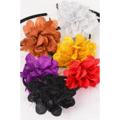 "Headband Satin Black Metallic Flower/DZ Flower Size-4.5"",2 of each Color Asst,Hang Tag & UPC Code,Clear Box"