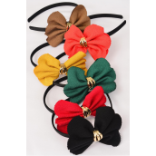 "Head Band Satin Black Fancy Bow-tie/DZ Bow-tie Size-4.5""x 3.5"" Wide,2 of each Color Asst,Hang Tag & UPC Code,W Clear Box"