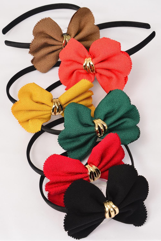 Head Band Satin Black Fancy Bow Tiedz Bow Tie Size 45x 35 Wide