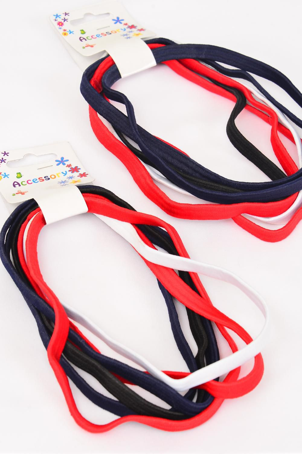 "Elastic Headband Wide Red White Black Navy mix 6pcs per Card/DZ **Red & White & Black & Navy Mix**  NO METAL, Size-15""x 3/8"" Wide,Pr Color Mix,Hang Tag & UPC Code,6 pcs per Card,12 Card=Dozen"