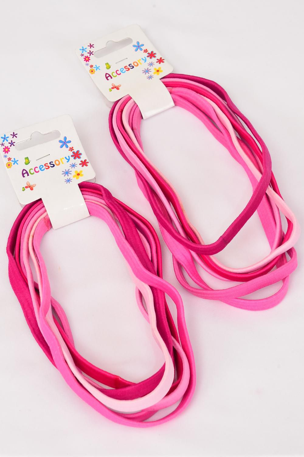 "Elastic Headband Wide Pink Mix 36 pcs /DZ **Pink Mix**  NO METAL, Size-15""x 3/8"" Wide,Pr Color Mix,Hang Tag & UPC Code,6 pcs per Card,12 Card=Dozen"