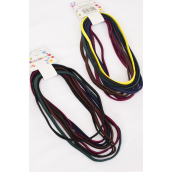 "Elastic Headband 9 Strings Dark Multi/DZ **Dark Multi** NO METAL,Size-15""x 0.25"",Hang Tag & UPC Code,9 pcs per Card,12 Card=Dozen"