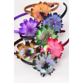 "Headband Horseshoe Satin Flower AB/DZ Flower Size-3.25"",2 Navy,2 Black,2 Burgundy,2 Brown,2 Purple,1 Cameo,1 Green,7 Color Asst,Hang Tag & UPC Code,W Clear Box"