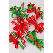 "Hair Bow Xmas Grosgrain Loop Bow Candy Stripes Alligator Clip/DZ **Alligator Clip** Bow Size-4""x 3"" Wide,2 of each Color Asst,Display Card & UPC Code,W Clear Box"