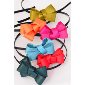"Headband Horseshoe Metal Natural Satin Fabric Bow tie/DZ **Natural** Bow-tie Size-3""x 2.5 "",2 of each Color Asst,Hang Tag & UPC Code,W Clear Box"