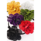 "Headband Satin Black Mesh Metallic Flower/DZ Flower Size-4"" Wide,2 of each Color Asst,Hang Tag & UPC Code,W Clear Box"