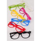Sunglasses Wayfarer Like Color Frame Flower/DZ **No Lens**  2 Black,2 Red,2 White,2 Blue,2 Fuchsia,1 Yellow,1 Lime,7 Color Asst,Hang Tag & OPP Bag & UPC Code