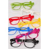 Sunglasses Wayfarer Like Color Frame W Bowtie No Lens/DZ **No Lens**  2 Black,2 Red,2 White,2 Blue,2 Fuchsia,1 Yellow,1 Lime,7 Color Asst,Hang Tag & OPP Bag & UPC Code