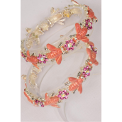 Bracelet Bees Pink Enamel & Rhinestones/PC **Stretch** Display Card & OPP Bag & UPC Code