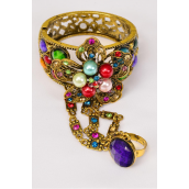 "Bangle Hinge & Ring Pearl Flower Antique Gold Cuff Rhinestones mix/PC **Multi** Hinge,Ring-Adjustable,Face Size-2.5"" wide,Wrist Size-2""x 2.75"" Wide,Hang Tag & OPP Bag & UPC Code"
