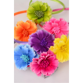 "Headband Horseshoe Satin Cosmo Flowers/DZ **Multi** Flower Size-3"" Wide,2 Yellow,2 Purple,2 Pink,2 Orange,2 Blue,1 Lime,1 Fuchsia,7 Color Asst,Hang Tag & UPC Code,Clear Box"