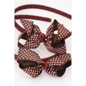 "Headband Horseshoe Brown Pink Polkadots Grosgrain Bowtie/DZ **Brown** Bow Size-3""x2"" Wide,With OPP Bag -"