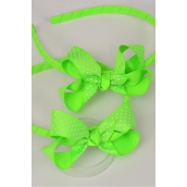 """Headband Grosgrain Bow-tie Lime White Mini Polka Dots/DZ **Lime White Polka Dots ** Bow Size-3""""x 2"""" Wide,With OPP Bag"""
