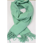"**Teal Green** Size-70""x 25"" Wide,70% Pashmina,30% Silk,W OPP Bag Scarf Pashmina Teal Green/PC"
