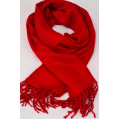"**Red** Size-70""x 25"" Wide,70% Pashmina,30% Silk,W OPP Bag Scarf Pashmina Red/PC"