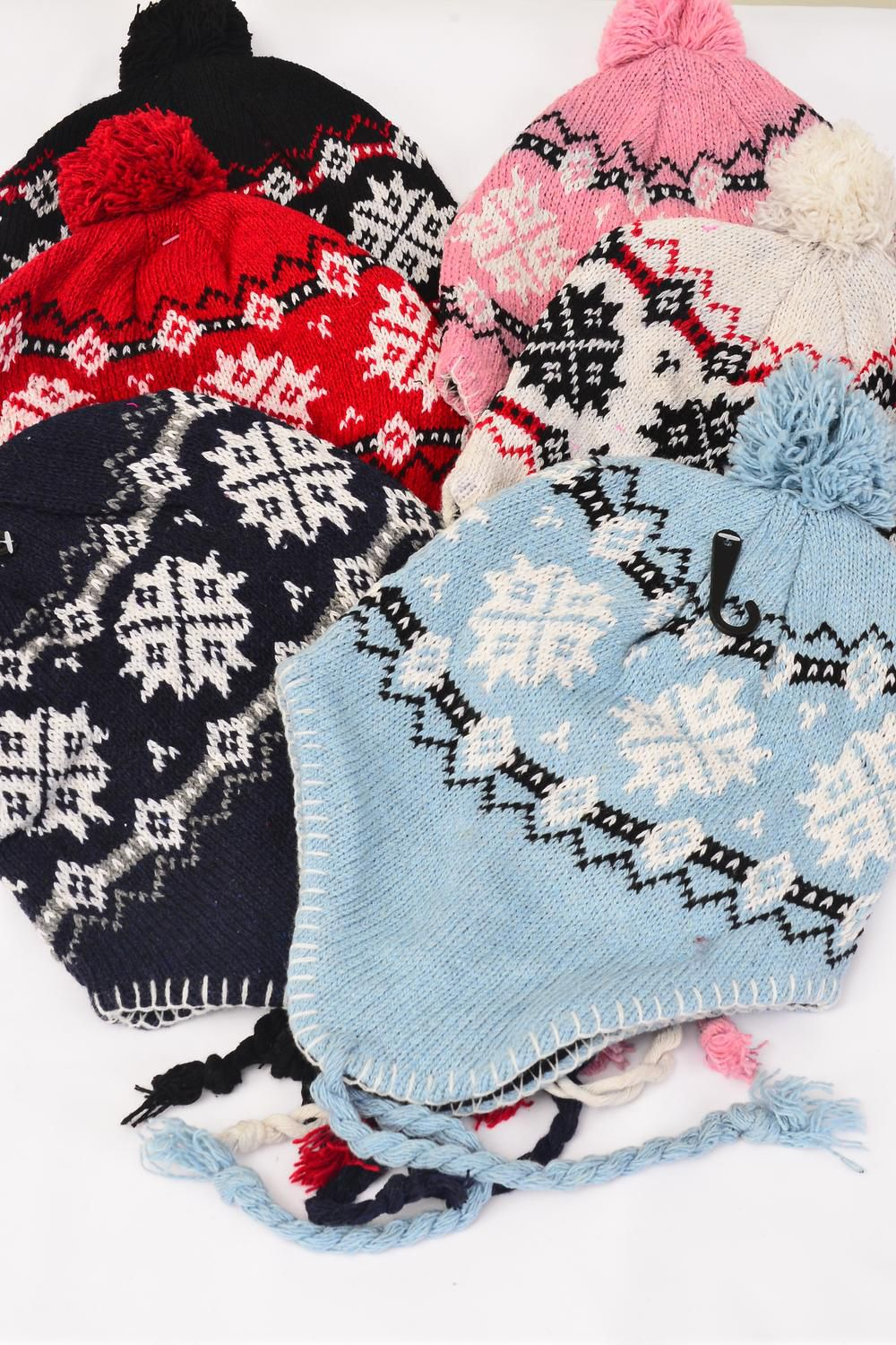 Knit Cap Snow Flake Head Wear Fleece For Kids/DZ Colors-2 Pink,2 Blue,2 Navy,2 Red,2 White,2 Black,6 color Asst,OPP Bag & UPC Code -