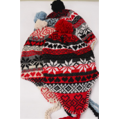 Knit Cap Snow flake Ball Fleece/DZ Colors-3 of each Color Asst, OPP Bag & UPC Code